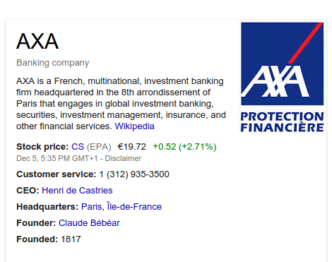 "Searching for ""AXA"" returns this company."